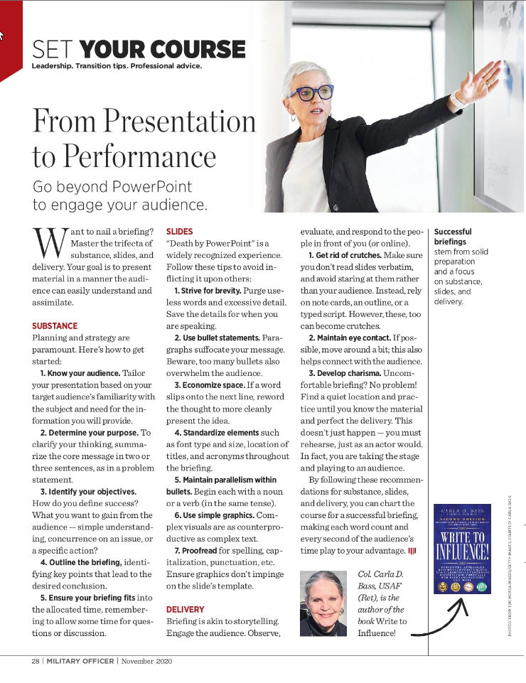 Article with tips to develop a briefing based on award-winning book Write to Influence!